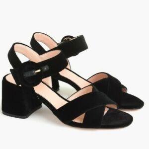 J.Crew Black Velvet Penny Sandal - size 5